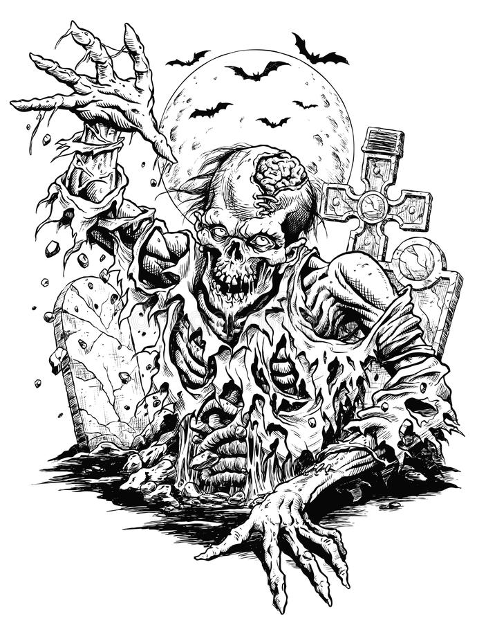 Linha cômica arte do zombi ilustração royalty free