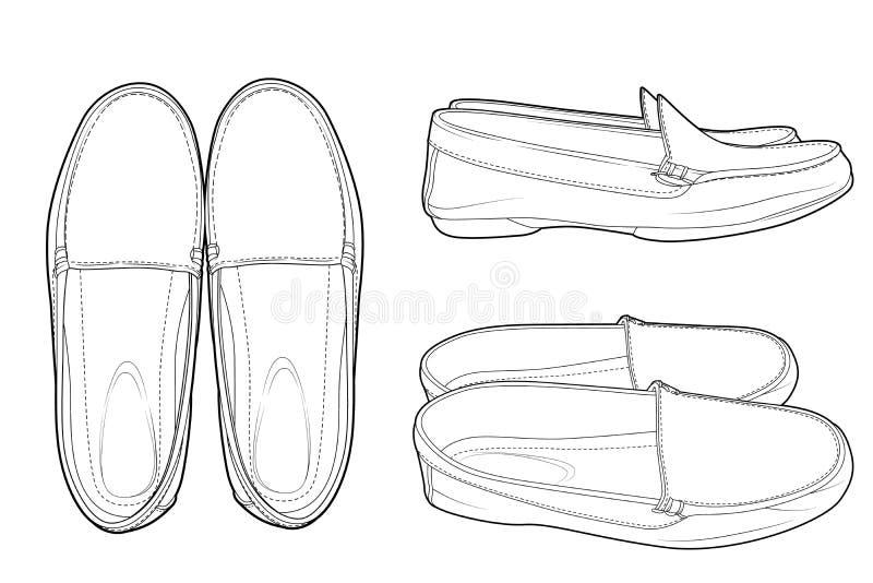 Linha calçados casuais da arte para homens ilustração stock