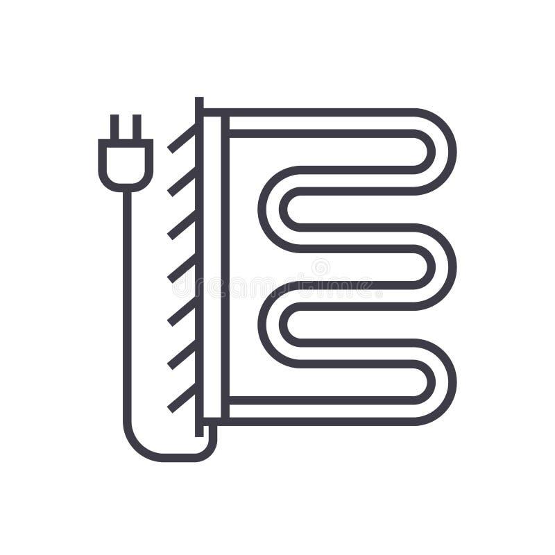 Linha caloroso ícone do vetor do secador de toalha, sinal, ilustração no fundo, cursos editáveis ilustração royalty free