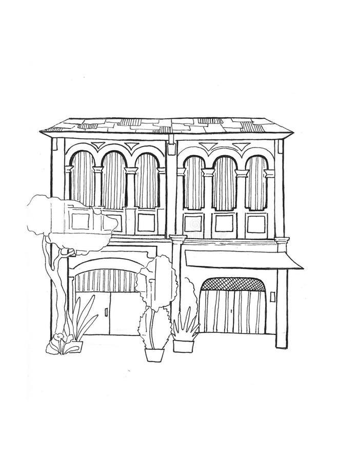Linha cambojana esboço da casa no fundo branco Arquitetura colonial europeia Esboço preto e branco do curso ilustração royalty free