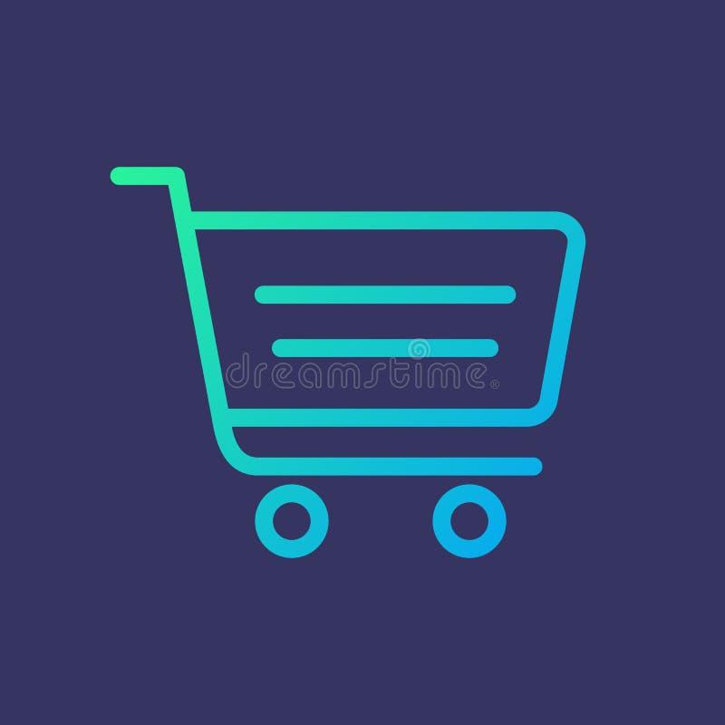 Linha carrinho de compras do ícone no estilo do inclinação fotos de stock royalty free