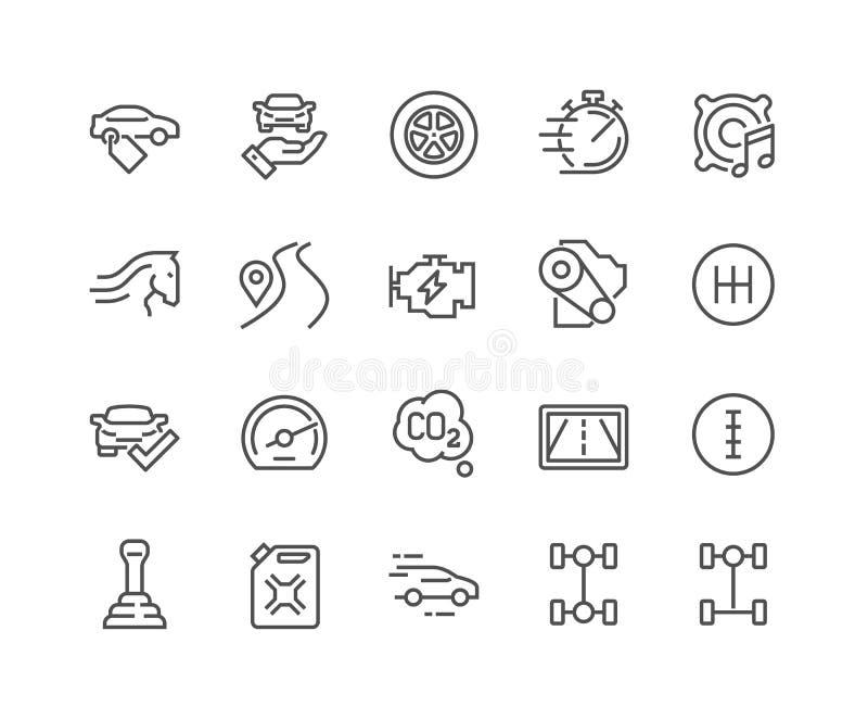 A linha carro caracteriza ícones ilustração stock