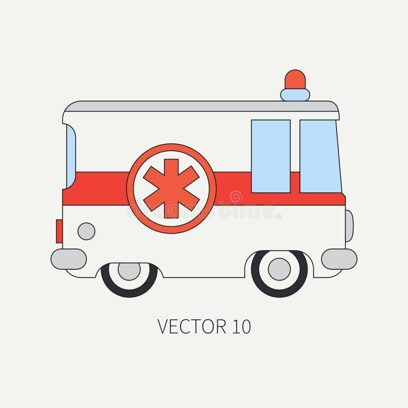 Linha carro liso da ambulância do ícone da cor do vetor Veículo do auxílio da emergência Estilo dos desenhos animados Reanimação  ilustração royalty free