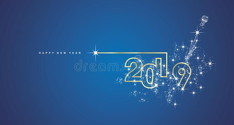 Linha cartão azul branco de brilho do ano novo 2019 do vetor do ouro do champanhe do fogo de artifício do projeto ilustração royalty free