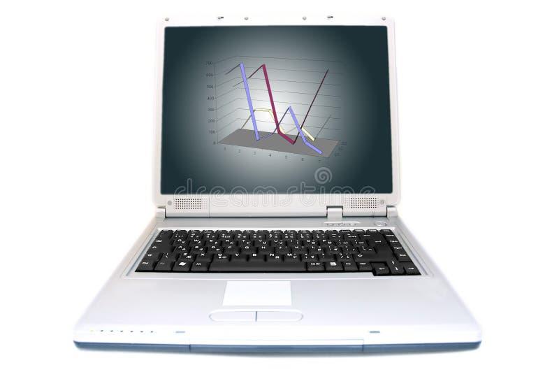 Linha carta em 3D na tela do portátil imagens de stock