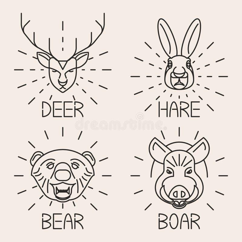 A linha cervo ajustado dos animais do símbolo da natureza do logotipo carrega a lebre ilustração stock