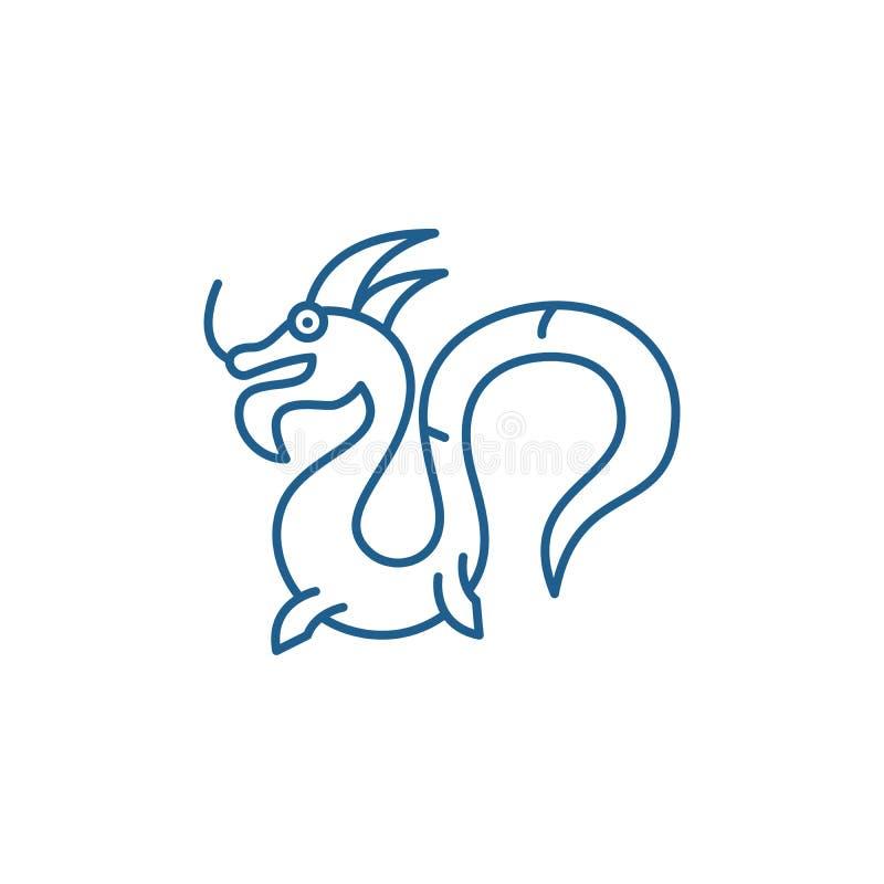 Linha chinesa conceito do dragão do ícone Símbolo liso do vetor do dragão chinês, sinal, ilustração do esboço ilustração stock