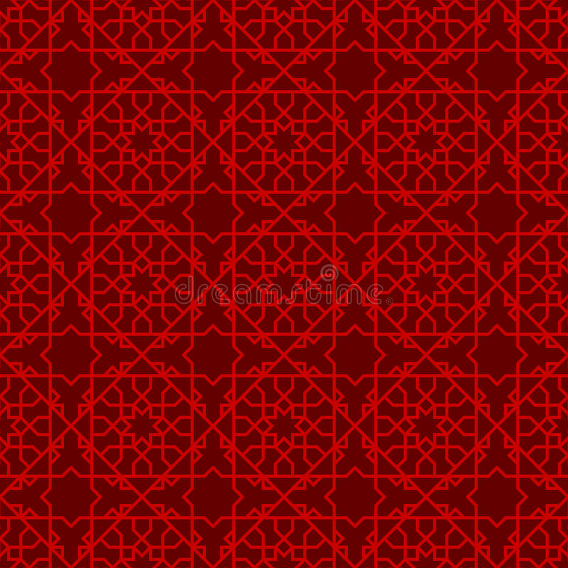 Linha chinesa sem emenda fundo da estrela do tracery da janela do teste padrão ilustração do vetor