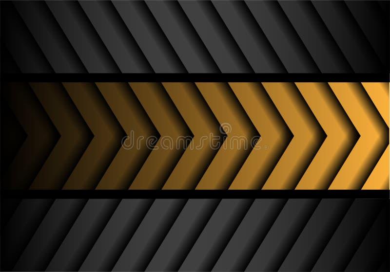 Linha cinzenta amarela abstrata vetor futurista moderno do preto do teste padrão da seta do fundo do projeto ilustração royalty free
