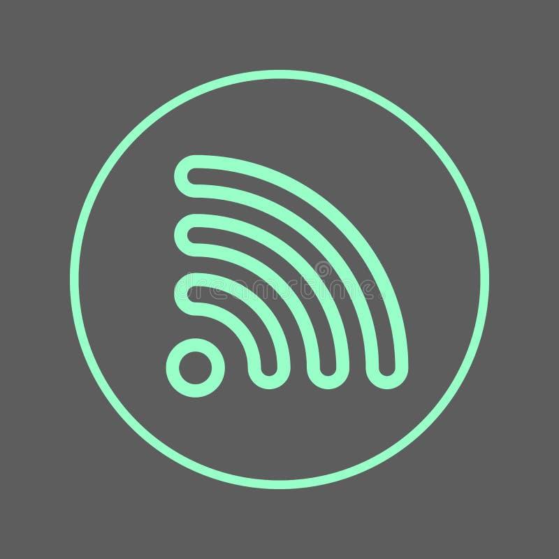 Linha circular ícone de Wifi Sinal colorido redondo da alimentação do RSS Símbolo liso do vetor do estilo ilustração royalty free