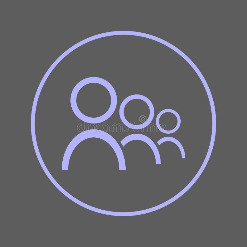 Linha circular ícone dos usuários Sinal colorido redondo dos povos Símbolo liso do vetor do estilo da equipe ilustração stock