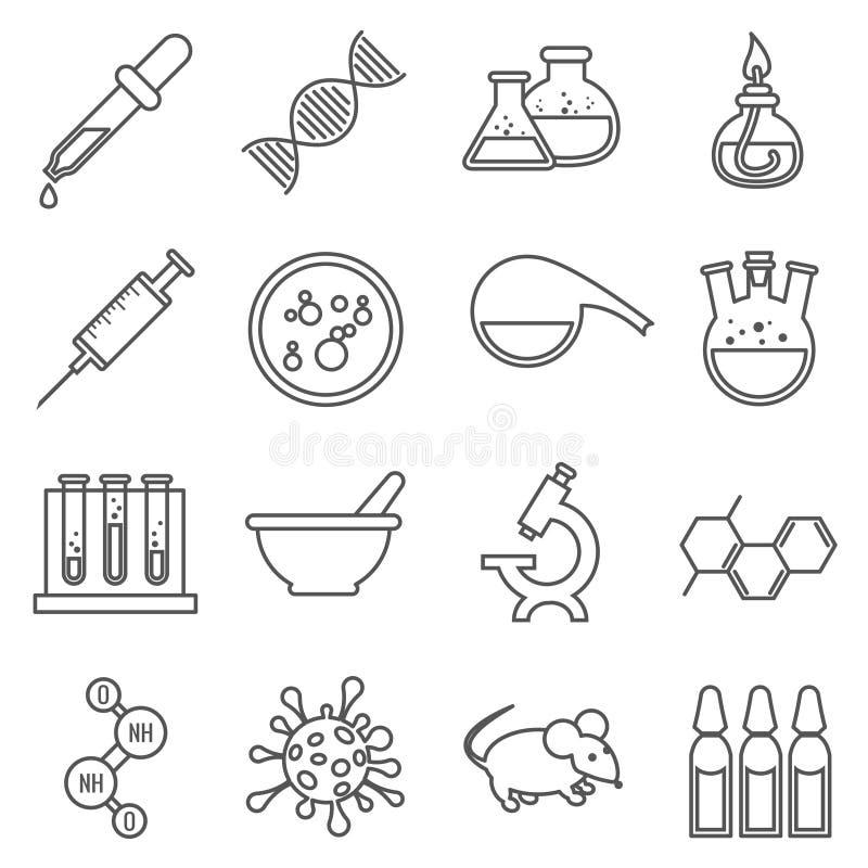 Linha clínica ícones do laboratório médico do vetor ajustados ilustração royalty free