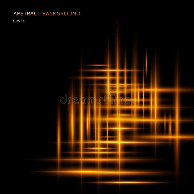 Linha clara amarela ou alaranjada abstrata movimento de néon de incandescência no fundo preto com espaço seu texto Raios laser de ilustração do vetor