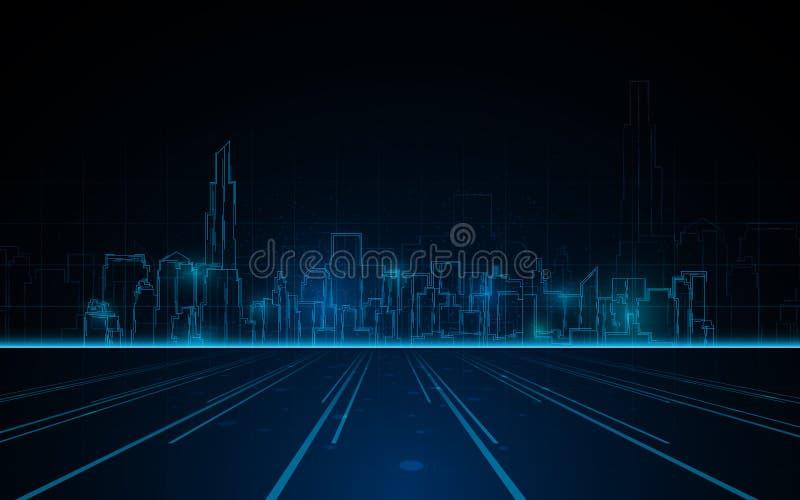 Linha clara azul fundo da arquitetura da cidade abstrata da torre do conceito do fi do sci da tecnologia do projeto ilustração stock