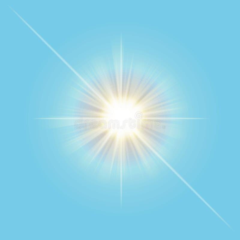 Linha clara do sol transparente do vetor isolada no fundo dos azul-céu Efeito da luz do raio de Sun Vector o mal ilustração royalty free