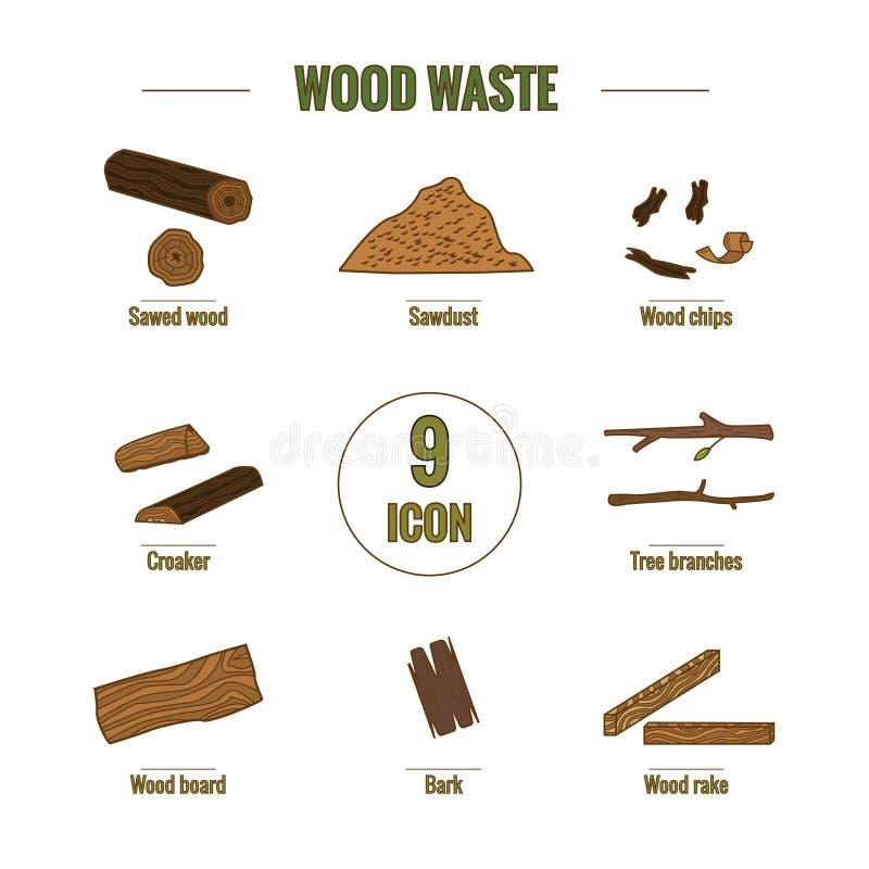 Linha coleção do ícone do estilo - elementos do desperdício de madeira foto de stock