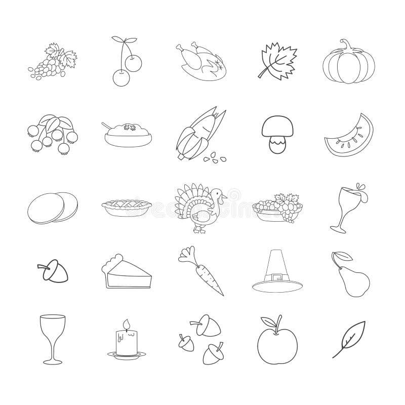 Linha coleção dos símbolos da ação de graças dos ícones do vetor ilustração do vetor