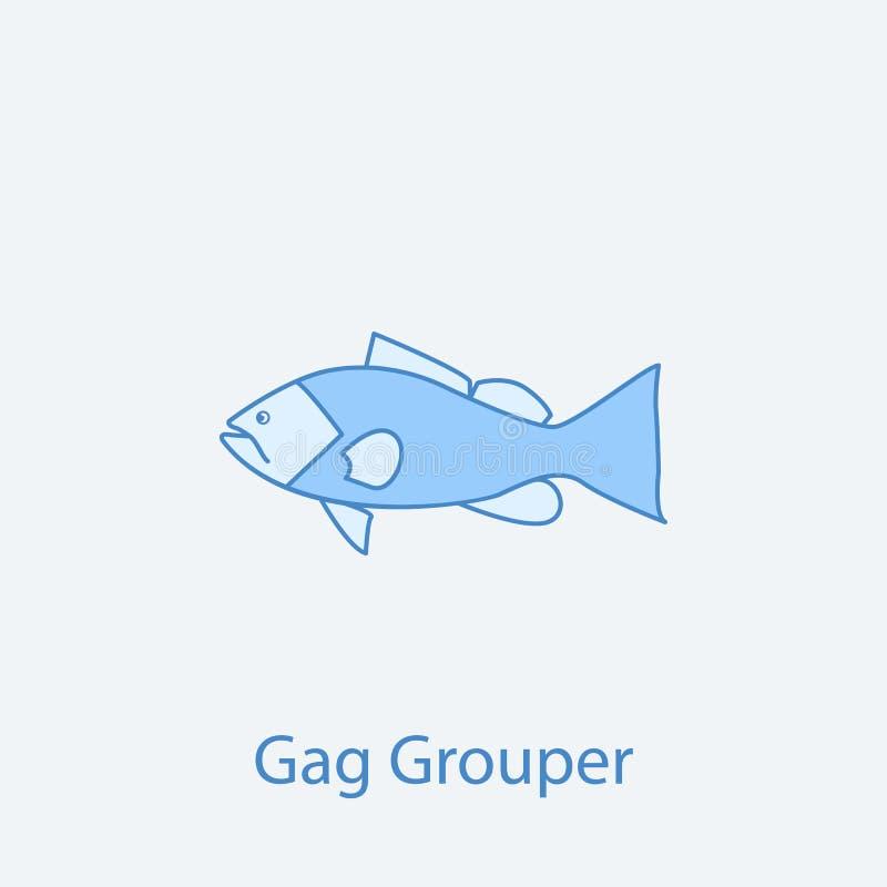 linha colorida ícone da garoupa 2 da mordaça Luz e obscuridade simples - ilustração azul do elemento projeto do símbolo do esboço ilustração stock