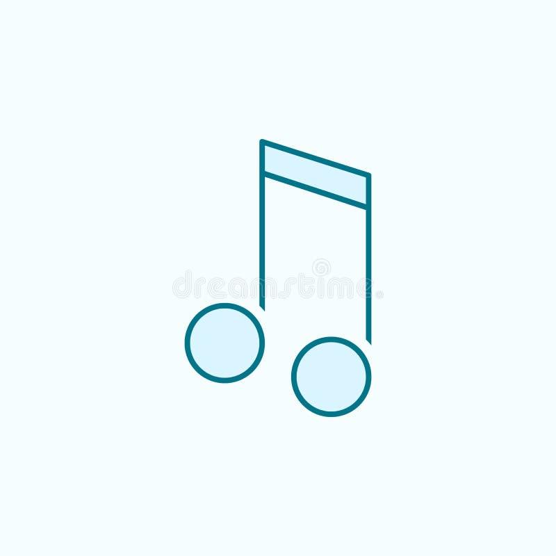 linha colorida ícone de nota musical 2 Ilustração simples do elemento colorido projeto do símbolo do esboço da nota musical dos í ilustração stock
