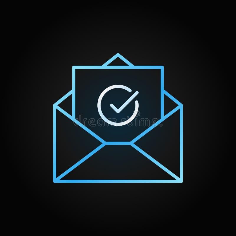 Linha colorida ícone do vetor do conceito da confirmação do e-mail ilustração royalty free