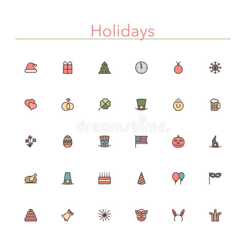Linha colorida ícones dos feriados ilustração stock