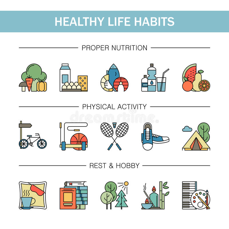 Linha colorida ícones dos hábitos saudáveis do estilo de vida do vetor Marisco apropriado da água de vegetais do fruto da nutriçã ilustração do vetor