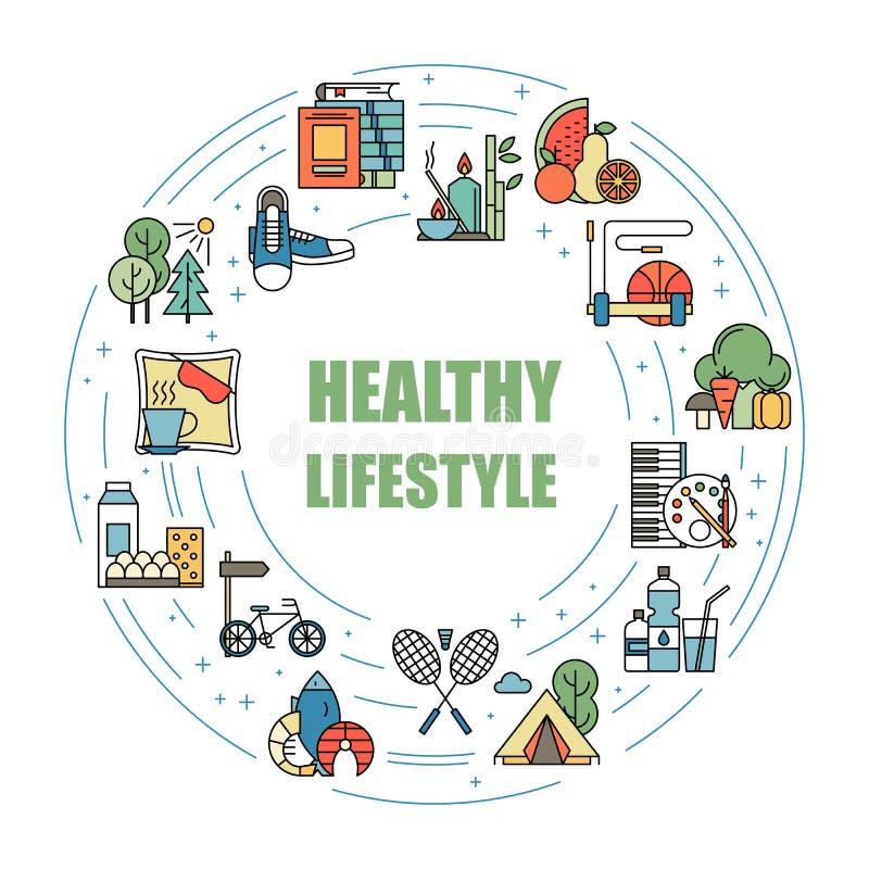 Linha colorida ícones dos hábitos saudáveis do estilo de vida do vetor Nutrição apropriada, atividade física, resto e passatempo  ilustração do vetor