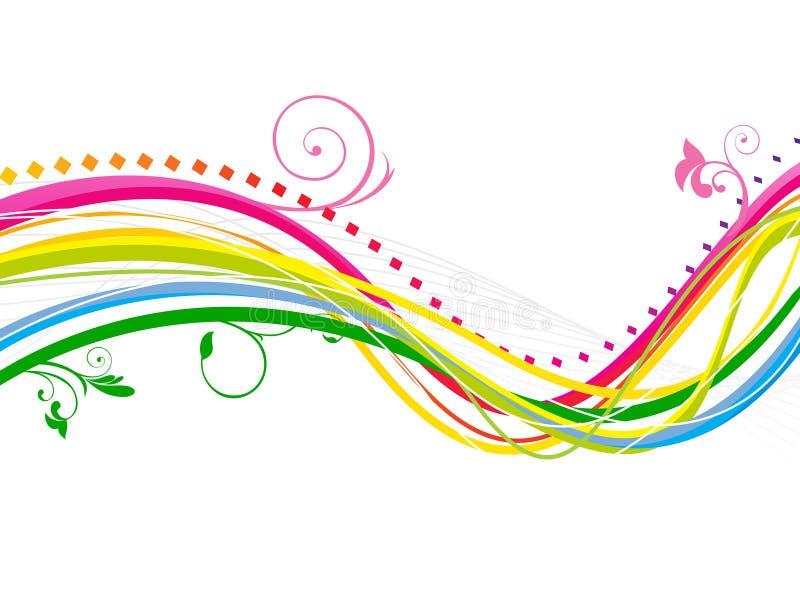 Linha colorida abstrata fundo do arco-íris da onda ilustração stock