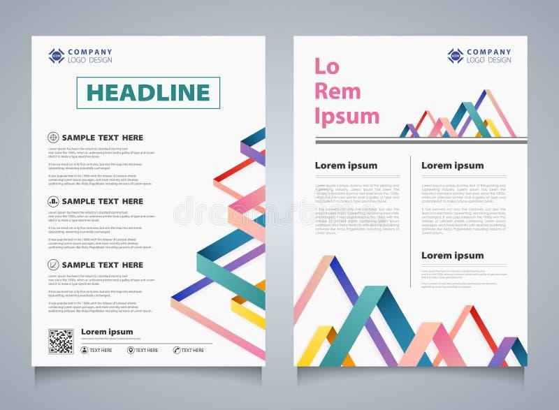 Linha colorida abstrata molde incorporado da listra do folheto da sobreposição Você pode usar-se para o projeto moderno do folhet ilustração do vetor