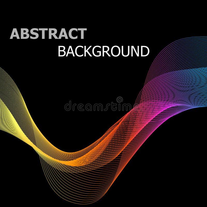 Linha colorida abstrata onda no fundo preto ilustração royalty free