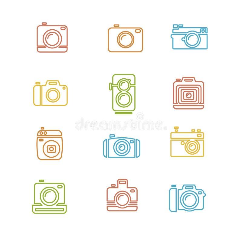 Linha colorida arte do ícone da câmera da foto do vintage ilustração stock