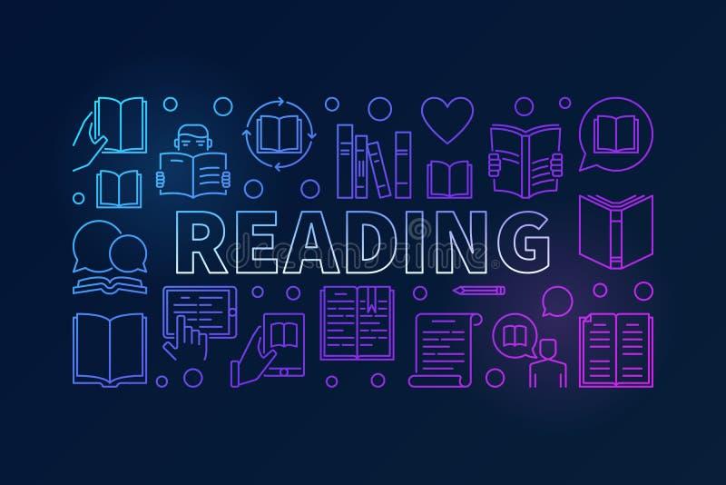 Linha colorida bandeira dos livros de leitura ilustração do vetor