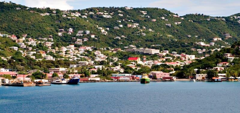 Linha colorida da costa de St. thomas imagens de stock royalty free