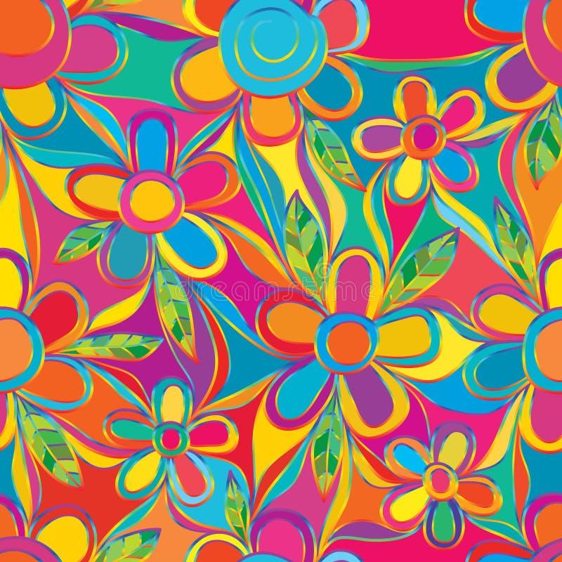 A linha colorida do arco-íris do estilo da flor conecta o teste padrão sem emenda da págiana inteira ilustração royalty free