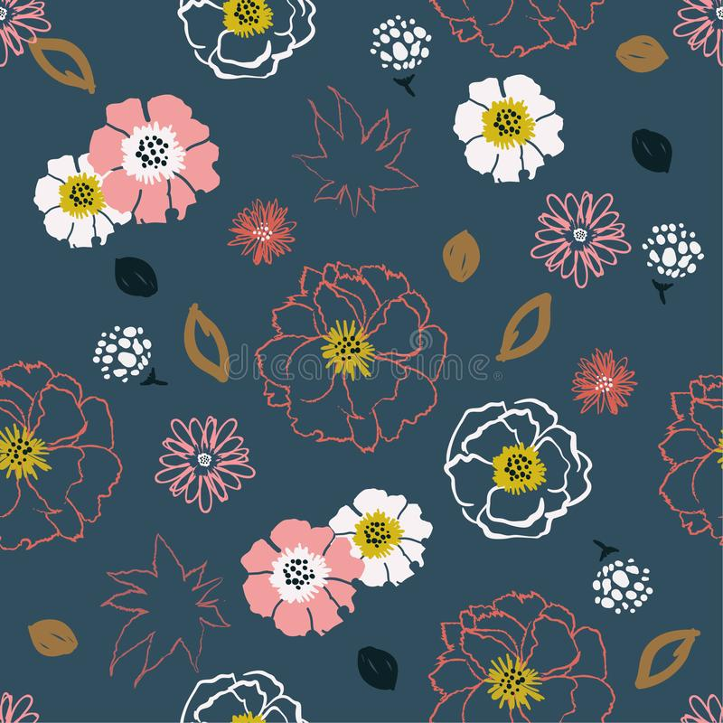 Linha colorida estilo tirado mão s do pop art bonito das flores da escova ilustração stock