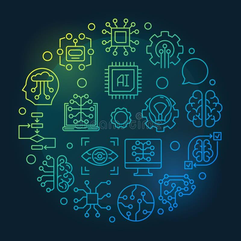 Linha colorida ilustração do vetor do círculo da inteligência artificial ilustração royalty free