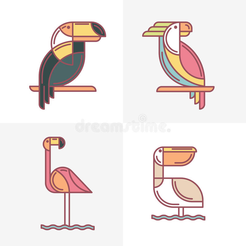 Linha colorida ilustração dos pássaros do tucano, papagaio de cacatua, fla ilustração do vetor