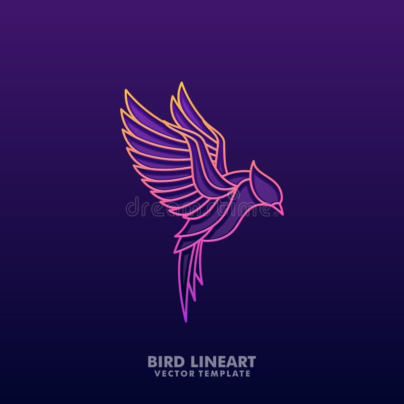 Linha colorida molde do pássaro do projeto do vetor da ilustração do conceito da arte ilustração do vetor