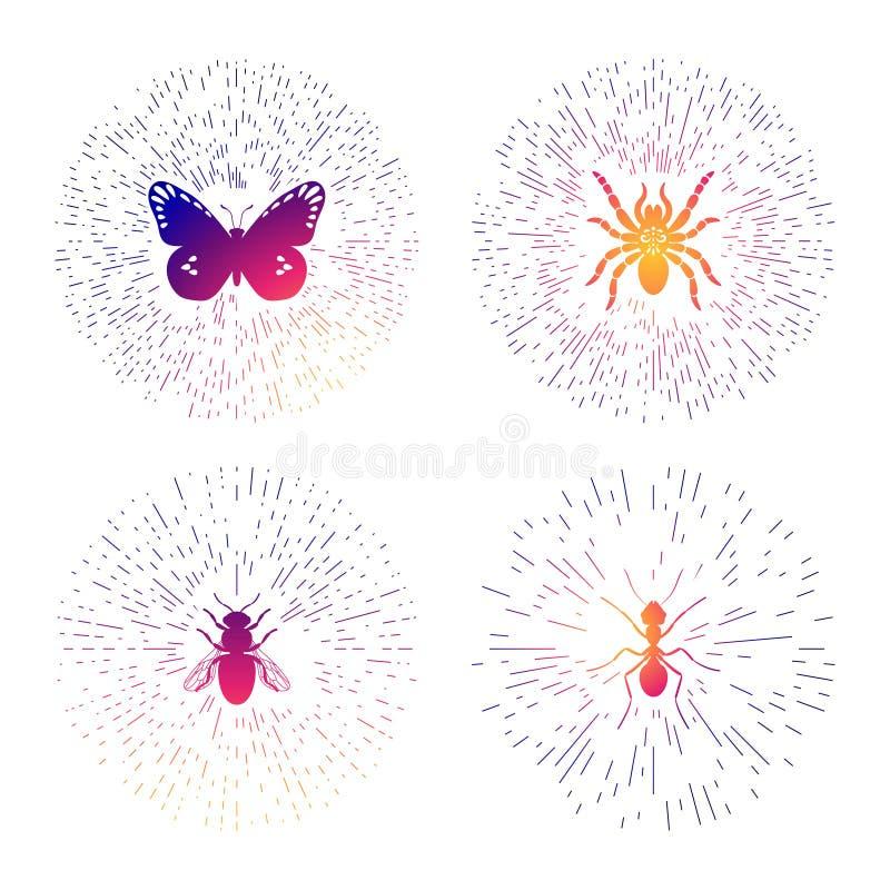 Linha colorida moldes do moderno do logotipo ajustados com insetos Linha fina etiquetas dos insetos isoladas no fundo branco ilustração royalty free