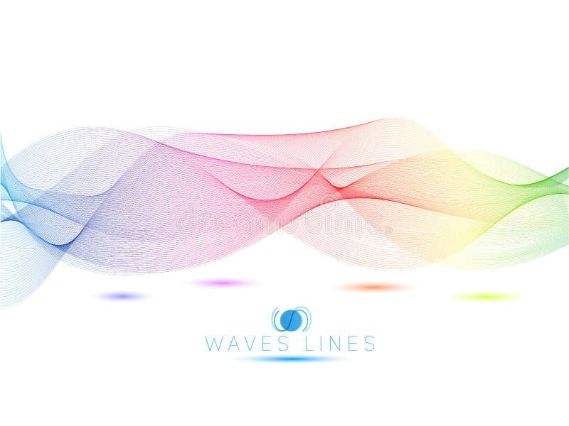 Linha colorida sumário brilhante das ondas claras ilustração stock