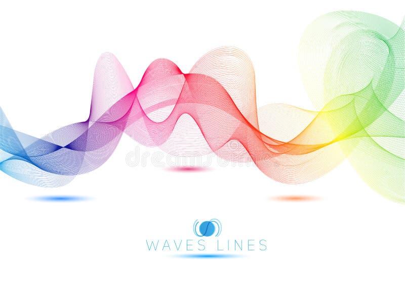 Linha colorida sumário brilhante das ondas claras do arco-íris ilustração royalty free