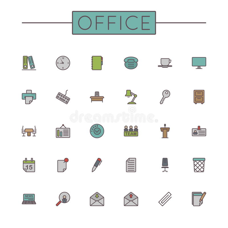 Linha colorida vetor ícones do escritório ilustração do vetor