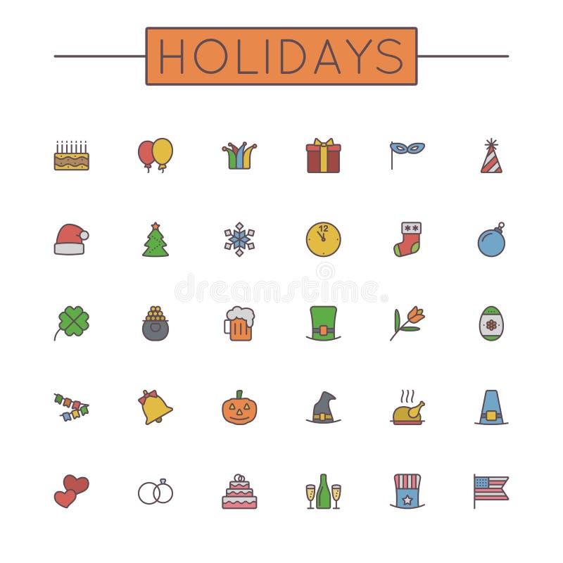 Linha colorida vetor ícones dos feriados ilustração stock