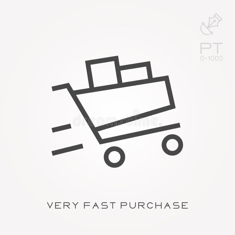 Linha compra rápida mesma do ícone ilustração royalty free