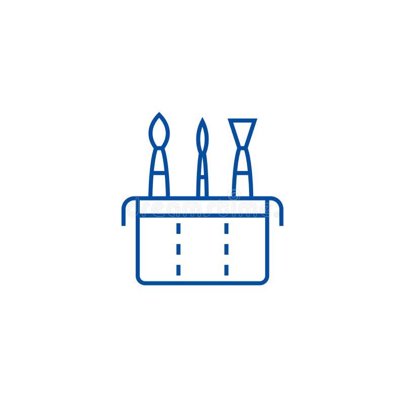 Linha conceito da caixa da escova da arte do ícone Símbolo liso do vetor da caixa da escova da arte, sinal, ilustração do esboço ilustração do vetor