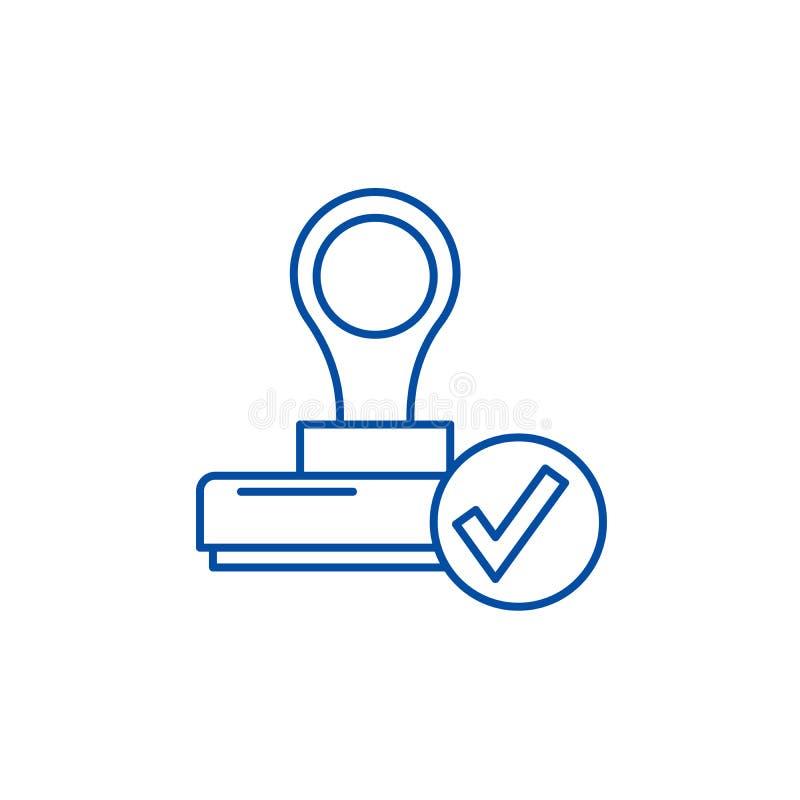 A linha conceito da confirmação do ícone O símbolo liso do vetor da confirmação, sinal, ilustração do esboço ilustração do vetor