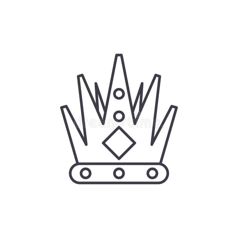 Linha conceito da coroa do rei do ícone Ilustração linear do vetor da coroa do rei, símbolo, sinal ilustração do vetor