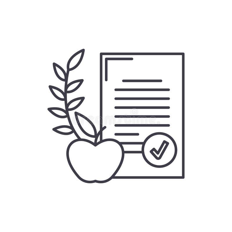 Linha conceito da dieta equilibrada do ícone Ilustração linear do vetor da dieta equilibrada, símbolo, sinal ilustração royalty free