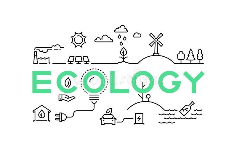 Linha conceito da ecologia Ambiente worming global do verde do ecossistema da natureza que recicla a indústria Grupo do eco da in ilustração do vetor