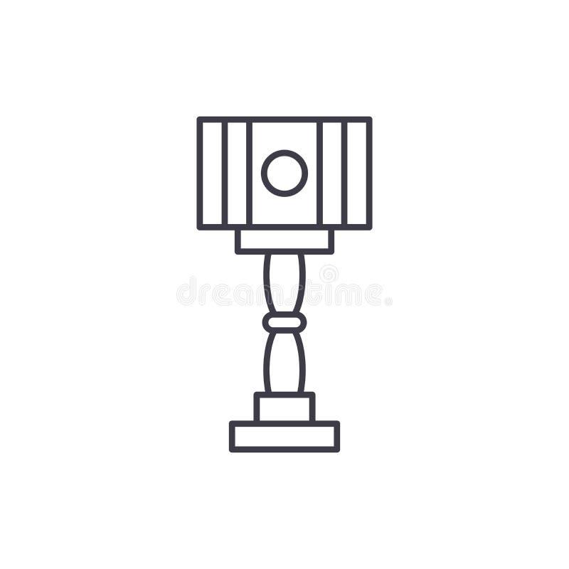 Linha conceito da lâmpada do projeto do assoalho do ícone Ilustração linear do vetor da lâmpada do projeto do assoalho, símbolo,  ilustração stock